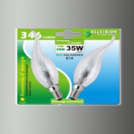 Lot de 2 ampoules halogènes flamme coup de vent 28W E14
