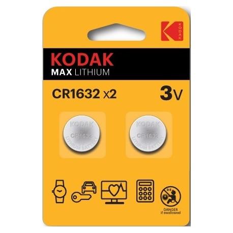 2 PILES CR1632 KODAK en blister