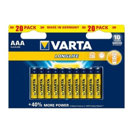 20 Piles alcalines LR06 - AA – 1,5V Varta Longlife Extra