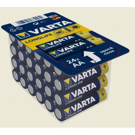 24 Piles alcalines LR06 - AA – 1,5V Varta Longlife Extra
