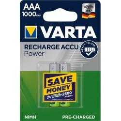 Piles rechargeables AAA - HR3 - 1000mAH prêtes à l'emploi (blister de 2)
