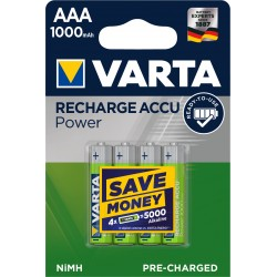 Piles rechargeables AAA - HR3 - 1000mAH  prêtes à l'emploi (blister de 4)