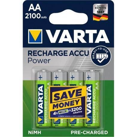 Piles rechargeables AA - HR6 - 2100mAH prêt à l'emploi.