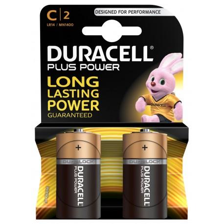 Piles alcalines LR14 - C – 1,5V Duracell Plus (blister de 2)