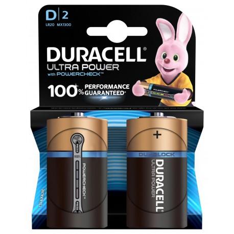 Piles alcalines LR20 - D – 1,5V Duracell Ultra power (blister de