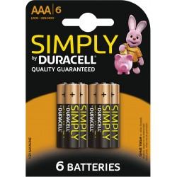 Piles alcalines LR03 - AAA – 1,5V Duracell Simply (blister de 6)