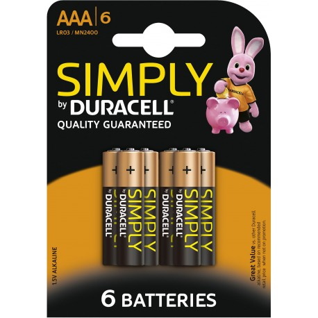 Piles alcalines LR03 - AAA – 1,5V Duracell Simply (blister de 6)