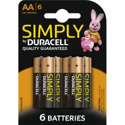Piles alcalines LR06 - AA – 1,5V Duracell Simply (blister de 4)