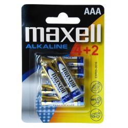 Blister de 6 piles alcalines LR03 - AAA – 1,5V Maxell