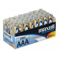 32 piles alcalines LR03 - AAA – 1,5V Maxell