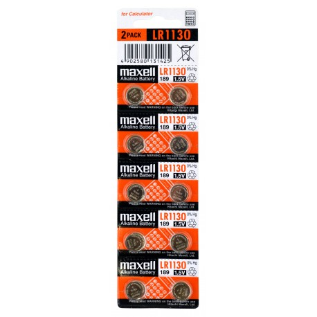 10 piles LR1130 MAXELL en blister