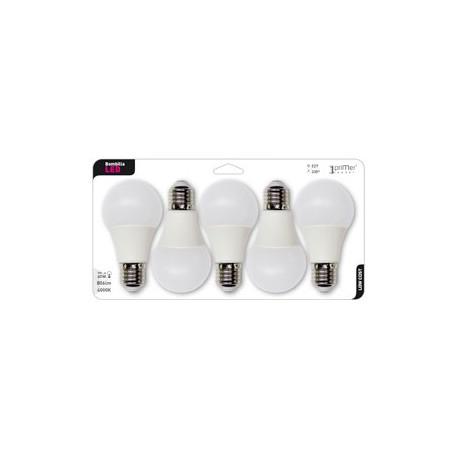 5 ampoules LED standard GLS E27 9W en blister