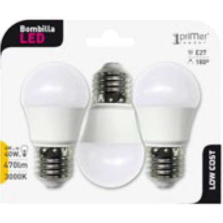 3 ampoules LED ball E27 6W en blister