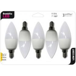 5 ampoules LED Flamme E14 6W en blister