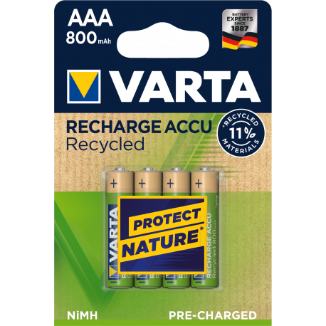 4 piles rechargeables RECYCLED AAA/HR03 - 800mAh