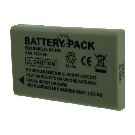 Batterie de remplacement pour MINOLTA NP-200 3.6V Li-Ion 820mAh