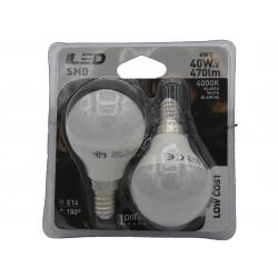 2 ampoules LED Ball E14 6W 4000K en blister - HIDALGO'S