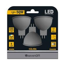 3 ampoules LED Dichroïques GU5.3 7.5W 3000K en blister - HIDALGO'S