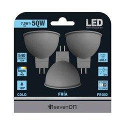 3 ampoules LED Dichroïques GU5.3 7.5W 6000K en blister - HIDALGO'S