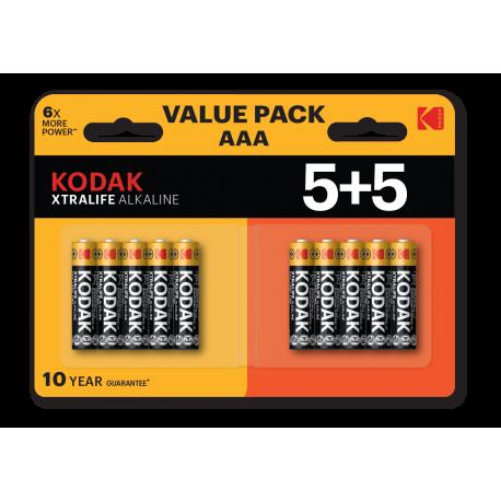 Blister de 10 piles alcalines LR03 - 5+5 - AAA – 1,5V KODAK