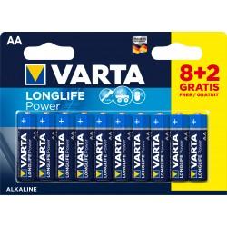 10 Piles dont 2 gratuites alcalines LR06 - AA – 1,5V Varta Longlife Power en blister