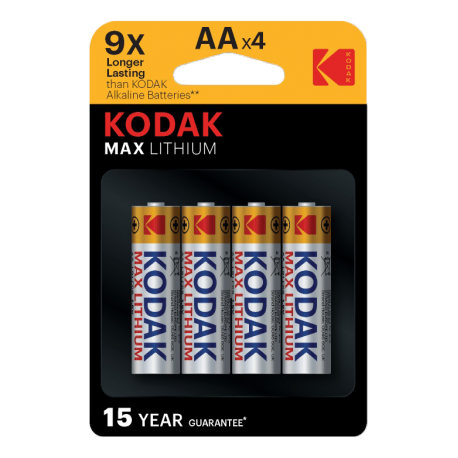 4 Piles MAX LITHIUM LR06 - AA  KODAK en blister
